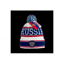 Шапка Russia белая с синими и красными полосками и гербом Россия